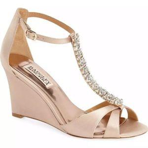 Badgley Mischka blush rhinestone Tstrap wedge heel